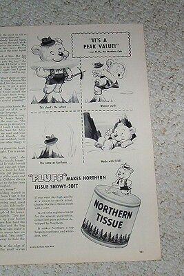 1951 print ad -Northern bathroom tissue -bear cub Fluffy art vintage Advertising