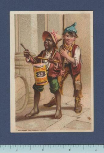 1887 Black Americana Trade Card ~ Two Poor Boys Marching Band ~ Monroe WI