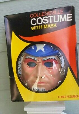 Vintage Halloween Costume Collegeville UNCLE SAM Orig Box Mask Xtra Good Clean