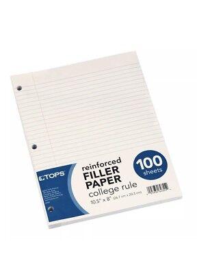 3pkg Tops Reinforced Filler Paper College Rule Loose-leaf 3-hole 100sheetspkg