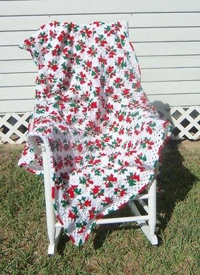 HANDMADE CROCHET AFGHAN - 300 GRANNY SQUARES  RED/GR/WH-CHRISTMAS COLORS 54X70