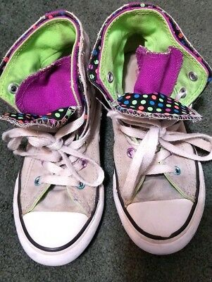 Converse All Star Double Tongue Girls Kids Shoes Size 13