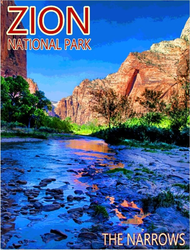 Zion National Park The Narrows Utah United States Travel Advertisement Poster