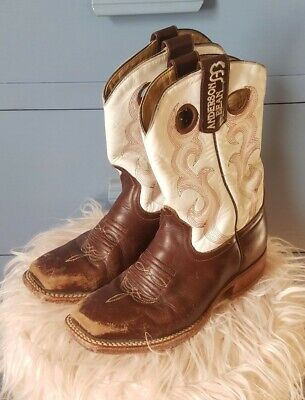 Anderson Bean Brown and White Leather Girls Cowgirl Square Toe Boots Size 2
