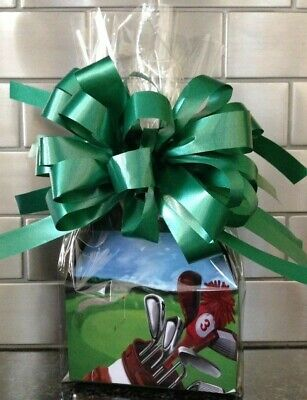 Father's Day Golf Candy/Goodies Gift Box-Basket Wrapped With  Bow & Card - Fathers Day Candy Card