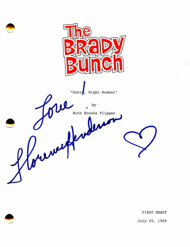 FLORENCE HENDERSON SIGNED AUTOGRAPH - THE BRADY BUNCH SCRIPT - BARRY WILLIAMS