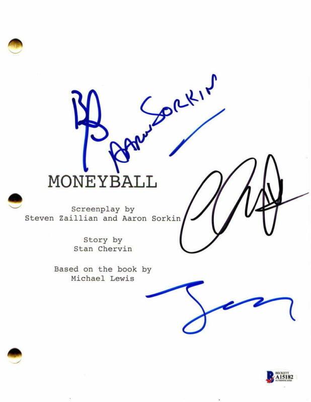 BRAD PITT, CHRIS PRATT, JONAH HILL +1 SIGNED AUTOGRAPH - MONEYBALL MOVIE SCRIPT
