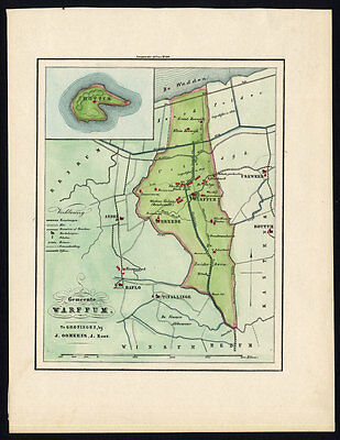 ANTIQUE MAP-NETHERLANDS-TOWN PLAN-ROTTUMEROOG-WARFFUM-GRONINGEN-OOMKENS-1862