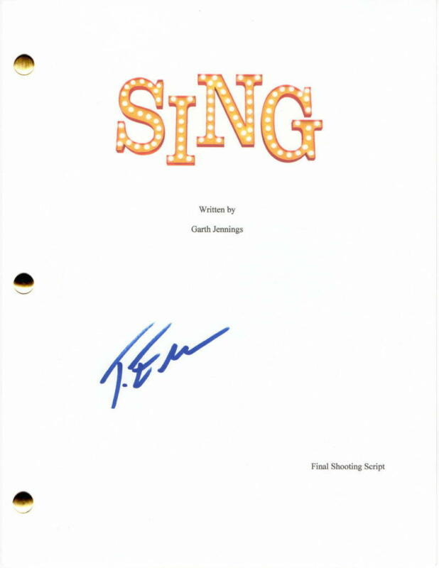 TARON EGERTON SIGNED AUTOGRAPH - SING - FULL MOVIE SCRIPT - JOHNNY, ROCKETMAN