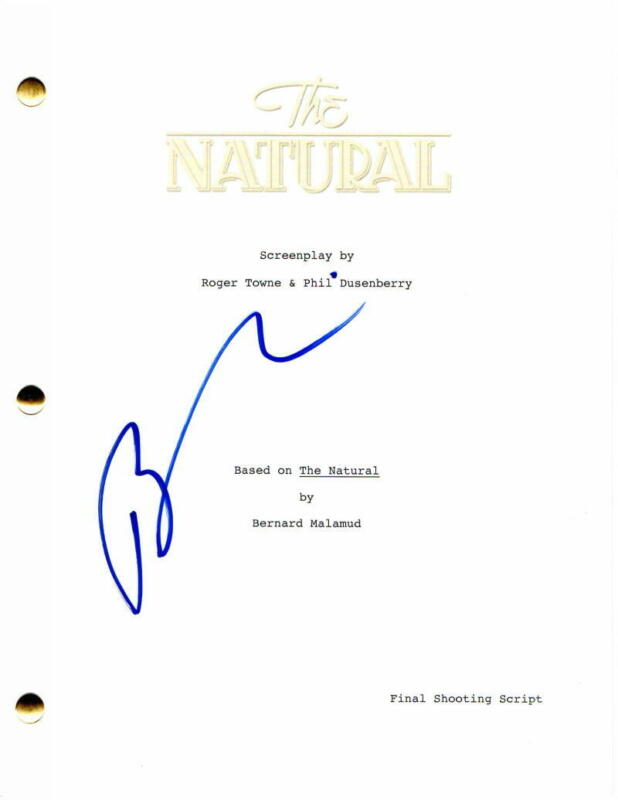 BARRY LEVINSON SIGNED AUTOGRAPH - THE NATURAL FULL MOVIE SCRIPT - ROBERT REDFORD