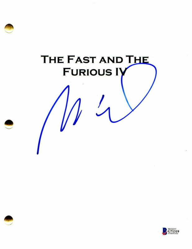VIN DIESEL SIGNED AUTOGRAPH - FAST & FURIOUS 4 FULL MOVIE SCRIPT - PAUL WALKER