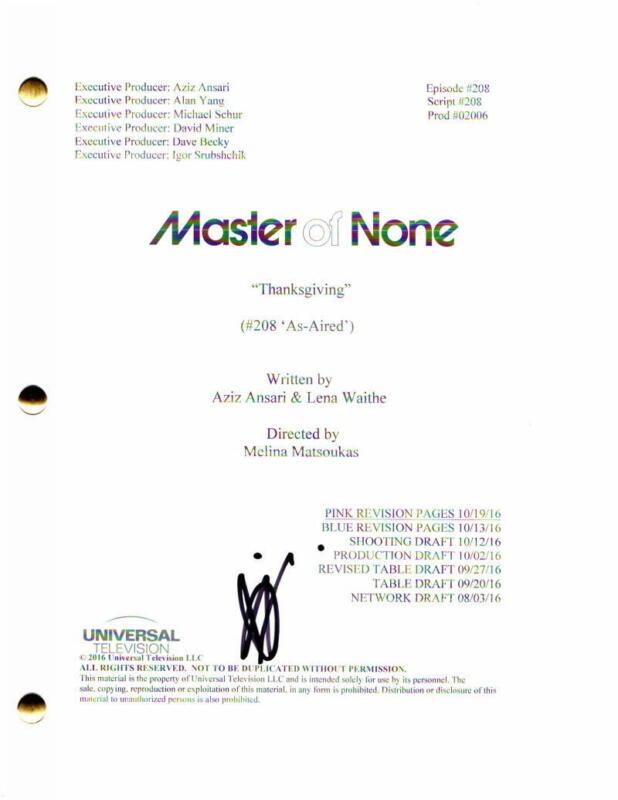 "AZIZ ANSARI SIGNED AUTOGRAPH - MASTER OF NONE FULL ""THANKSGIVING"" EPISODE SCRIPT"