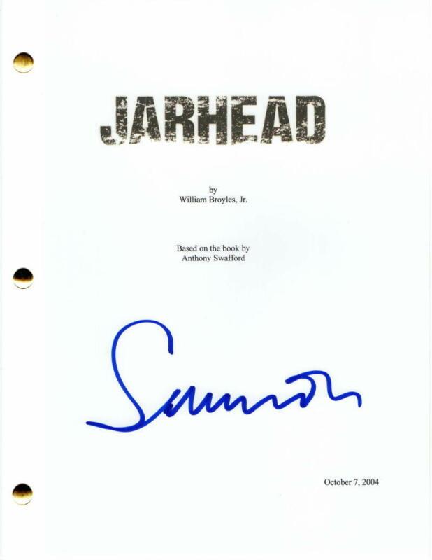 SAM MENDES SIGNED AUTOGRAPH - JARHEAD MOVIE SCRIPT - JAKE GYLLENHAAL, JAMIE FOXX