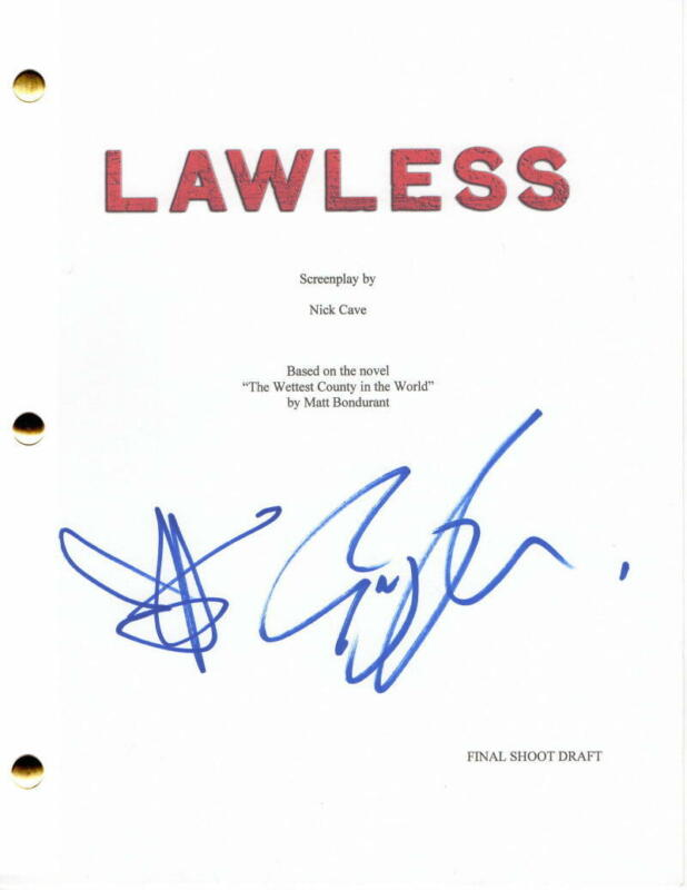 SHIA LABEOUF & GUY PEARCE SIGNED AUTOGRAPH - LAWLESS MOVIE SCRIPT - TOM HARDY
