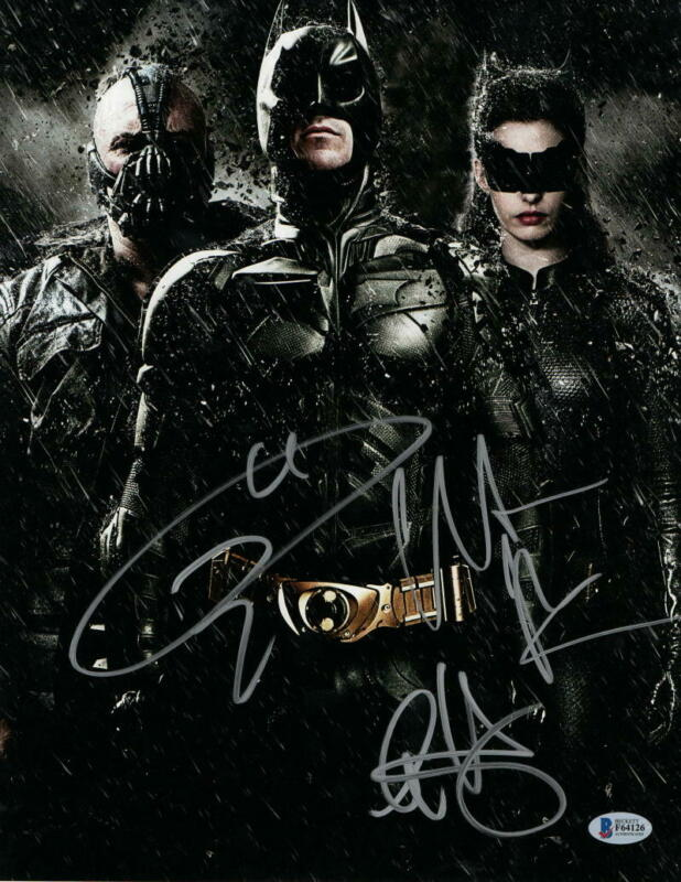 CHRISTIAN BALE TOM HARDY ANNE HATHAWAY DARK KNIGHT SIGNED 11X14 PHOTO BECKETT