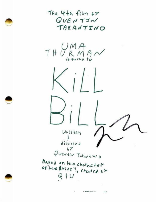 QUENTIN TARANTINO SIGNED AUTOGRAPH - KILL BILL FULL MOVIE SCRIPT - UMA THURMAN