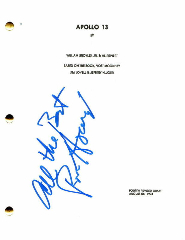 RON HOWARD SIGNED AUTOGRAPH - APOLLO 13 MOVIE SCRIPT - TOM HANKS, BILL PAXTON