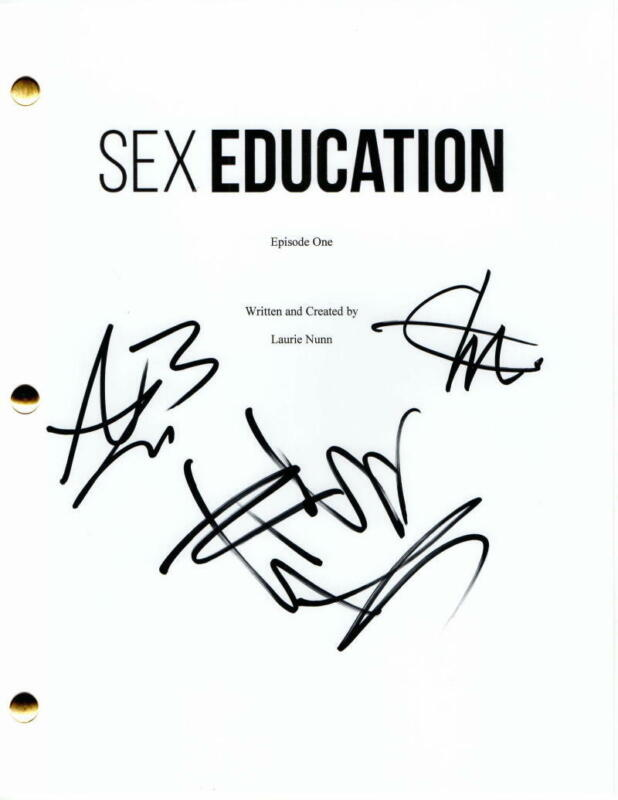 SEX EDUCATON CAST SIGNED AUTOGRAPH PILOT SCRIPT - EMMA MACKEY, ASA BUTTERFIELD +