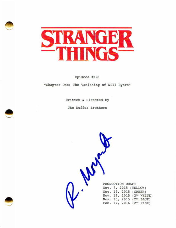 ROB MORGAN SIGNED AUTOGRAPH - STRANGER THINGS PILOT SCRIPT - MILLIE BOBBY BROWN
