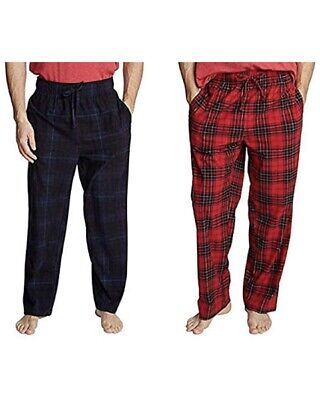 Nautica Men's Sueded Fleece Pajama Pants 2 Pack, Navy/Red/Plaid