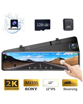 "Karauite M9 12"" Mirror Dash Cam 2K Backup Cam With GPS Free 128G SD Card"