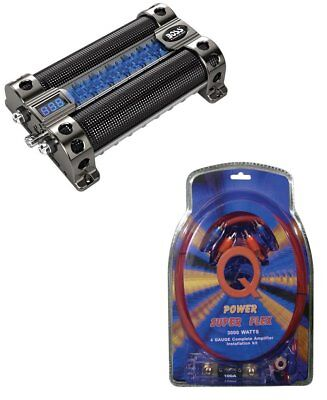 BOSS CAP8 8 FARAD LED Digital Car Power Capacitor Cap + 4 Gauge Wiring Kit