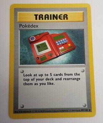 Pokedex Pokemon Trainer Card 87/102 1999 Base Set Non-holo PSA 9 or 10 - Photos