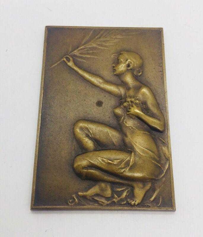 De Bremaecker Antique Bronze Nude Lady Plaque