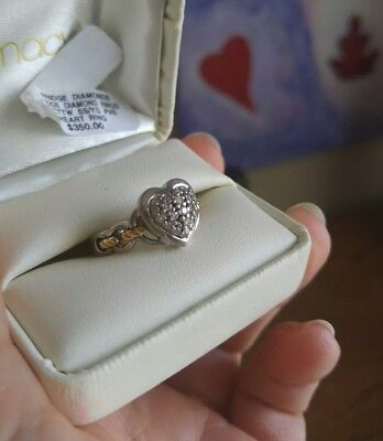 Diamond Heart Design Ring Size 7 ~ Sterling Silver and 14K Gold $350