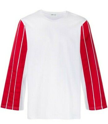 DIMA LEU Longsleeve Tee With Stripes Red M RRP $333 New