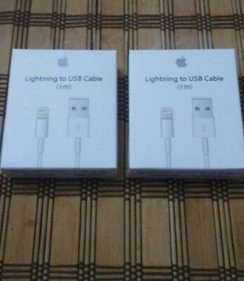 2x New Genuine Original Apple Lightning to USB Charge Cable for iPhone 6s/Plus/5