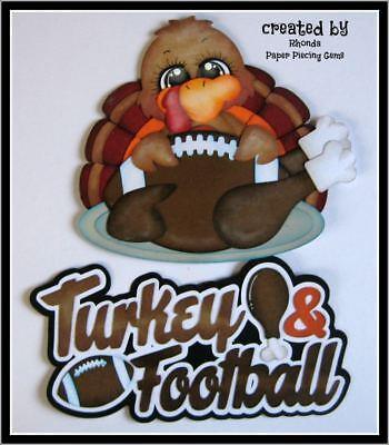 TURKEY & FOOTBALL paper piecing set Premade Scrapbook Pages album by Rhonda