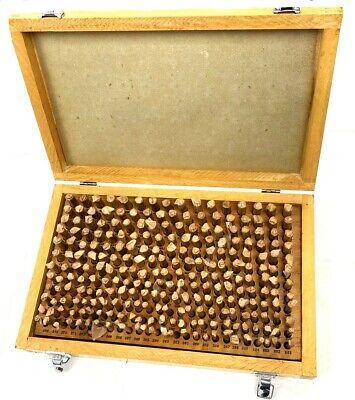 Wooden Case 250pc M2- .251-.500 Inch Plug Pin Gage Set Minus - Steel . New