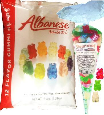 Gummy Bears 12 Flavor 5lb Bag With Red, White, Green Gummi 11oz Gourmet Kruise® - Green Gummy Bears