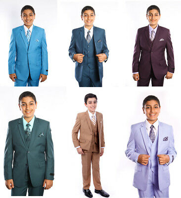Boys 5 Piece Suit Kids Toddler Formal Dress Ring Bearer Suits With Shirt & Tie - Boys Suit