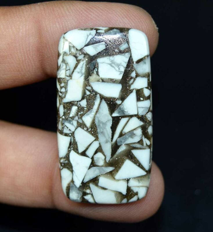 32.50 Cts. Reconstructed Copper White Howlite Cushion Cabochon Loose Gemstone
