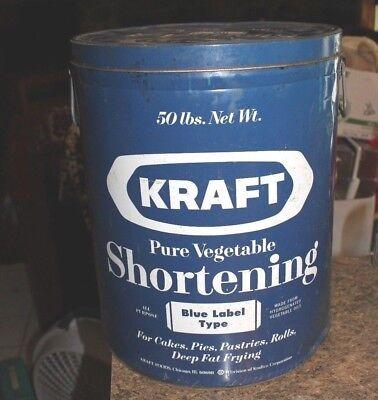 Antique Large Lard Rare Blue Metal Tin Can Kitchen Decor Kraft Shortening - l