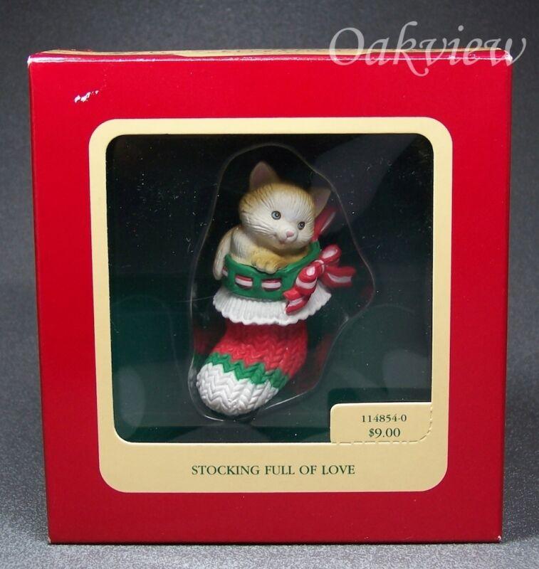 Carlton Cards 1990 Stocking Full of Love Cat Kitty Kitten Ornament 114854-0