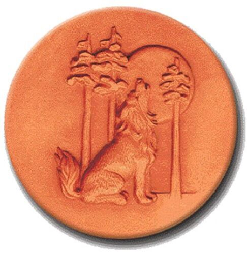 """RYCRAFT 2"""" Round Cookie Stamp with Handle & Recipe Booklet-HOWLING WOLF"""