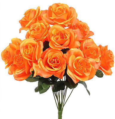 12 Orange Open Long Stem Roses Silk Wedding Flowers Bouquets Centerpieces (Orange Long Stem Roses)