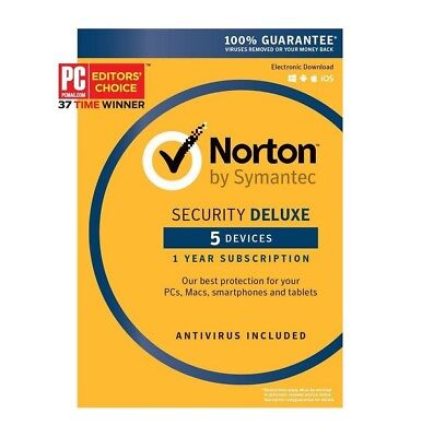 Symantec Norton Security Deluxe 5 Devices Anti Virus Pc Mac Android Ios 1 Year