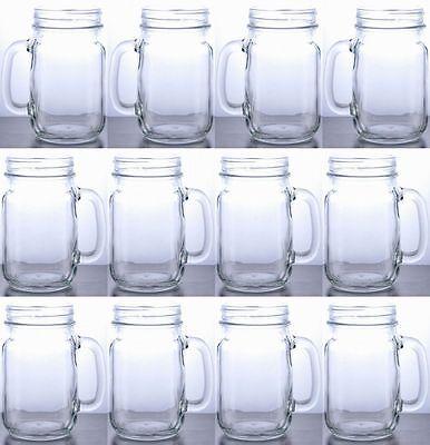 Glass Mason Jars With Handles (Rustic Bridal Mason Jar with Handles Clear Mason Drinking Jar Set Lot of 12)