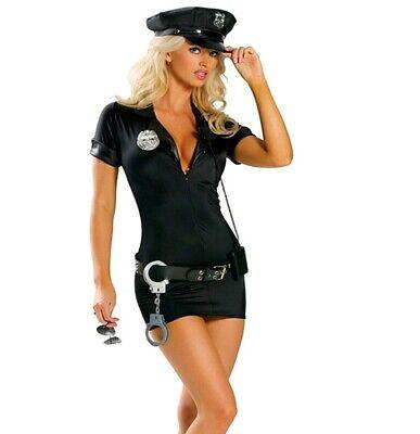 Damen Kostüm Polizei Polizistin Polizeikostüm Kleid Mütze XS - Polizei Kostüme Damen