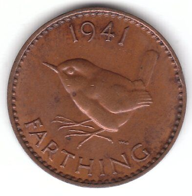 United Kingdom 1/4d Farthing 1941 Bronze Coin - Wren