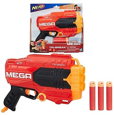 Nerf Mega Tri-Break Blaster Soft Foam Gun Toy Gift Barrel Strike Game New