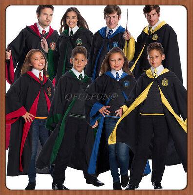 Harry Potter Costumes Adults (Harry Potter Hogwarts Robe Tie Set Adult Kids Wizard Cloak Fancy Dress)