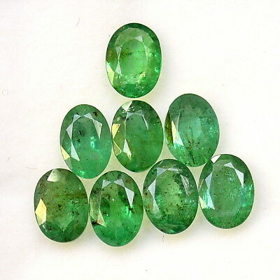 5.23 Cts Certified Natural Emerald Oval Cut 7x5 mm Lot 08 Pcs Loose Gemstones