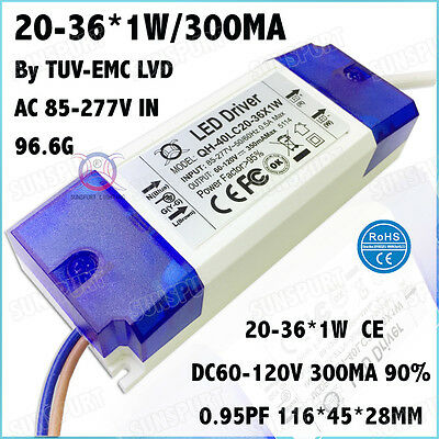 3 Pieces Ac85-277v 40w By Ce Led Driver 20-36x1 300ma Dc60-120v Constant Current