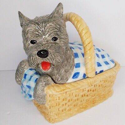 Dorothy's Dog Wizard Of Oz (Vintage Enesco Wizard Of Oz Dorothy's Dog Toto In Basket Cookie Jar W/Lid)