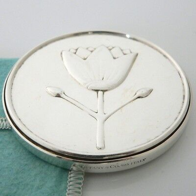 Tiffany & Co. Sterling Silver Flower Daisy Purse Compact Hand Mirror & Pouch Box